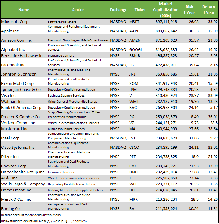 top 25 companies by Market Capitalization